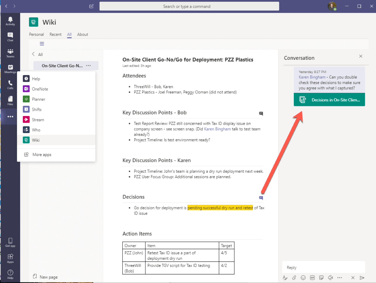 Microsoft Teams wiki capability screenshot